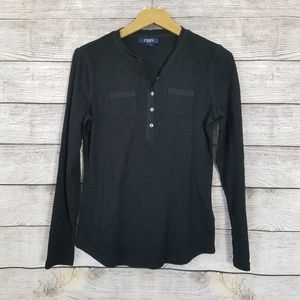 Chaps Black Henley Top Small
